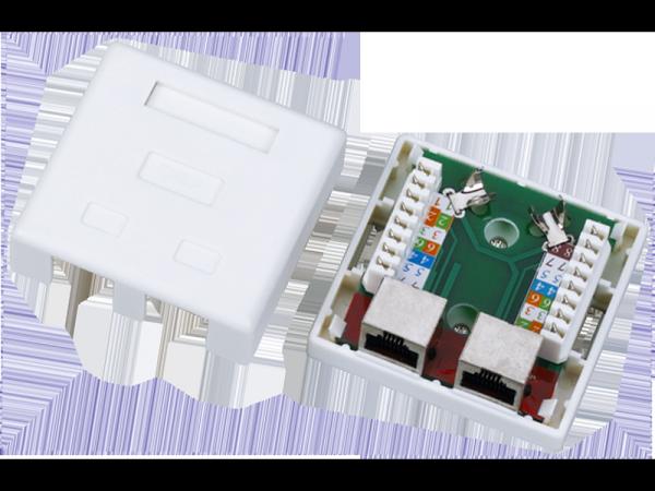 Gniazdo - obudowa natynkowa FTP 2xRJ45 kat.5e
