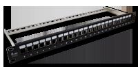 """Patch panel 19"""" modularny 24 porty 1U z podporą niewyposażony"""
