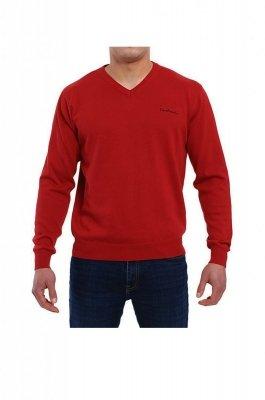Sweter V-Napis bordowy Pierre Cardin
