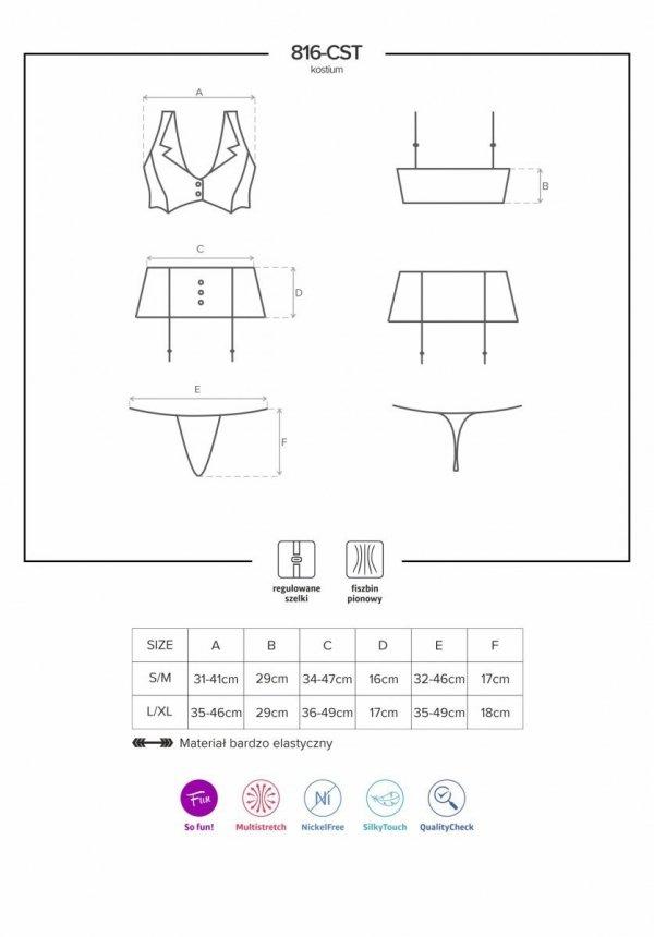 Kostium 5-częściowy 816-CST-6 Stewardessa Obsessive