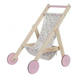 Little Dutch, drewniany wózek dla lalek spring flowers