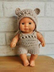 Olimi, czapeczka szydełkowa z uszkami dla lalki Miniland, 21cm, beżowa