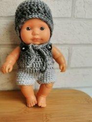 Olimi, czapeczka szydełkowa dla lalki Miniland, 21cm, szara