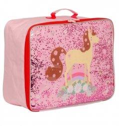 ALLC, walizeczka z tkaniny z brokatem, konik