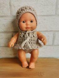 Olimi, czapeczka szydełkowa dla lalki Miniland, 21cm, beżowa