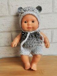 Olimi, czapeczka szydełkowa z uszkami dla lalki Miniland, 21cm, szara