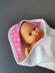 Olimi, okrycie kąpielowe dla lalki  21cm, białe groszki