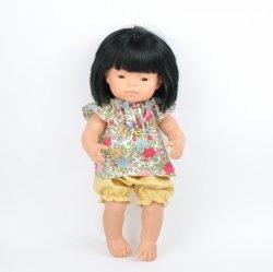 2-cz. zestaw tunika + miodowe bloomersy, dla lalki Miniland 38cm