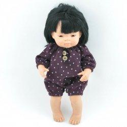 śliwkowy, muślinowy kombinezon dla lalki Miniland, 38cm