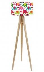 Macodesign, lampa podłogowa, kolorowe słoniki, podstawa biała lub naturalna