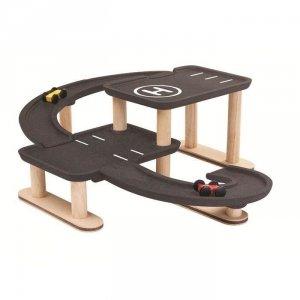 Plan Toys, drewniany parking poziomowy