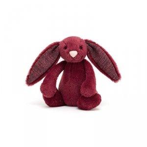 Jellycat, króliczek Bashful Cassis błyszczącymi uszami, 18cm