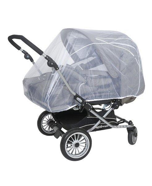 malooni, moskitiera uniwersalna na wózek bliźniaczy, gładka biała
