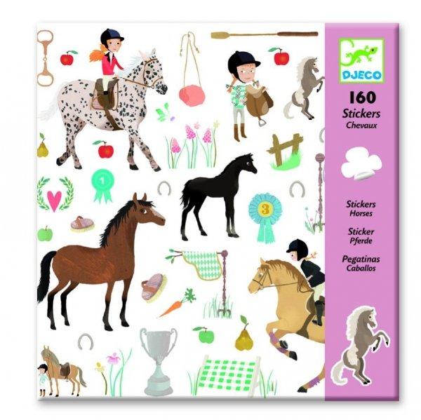 Djeco, naklejki konie 160szt.