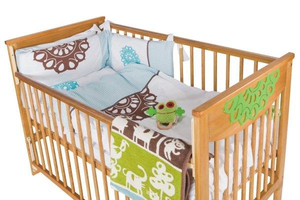malooni, Koronka, łóżeczko 120x60cm, Opuszczany bok, antyczna sosna