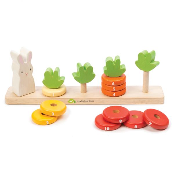 Tender Leaf Toys drewniana układanka do liczenia marchewki