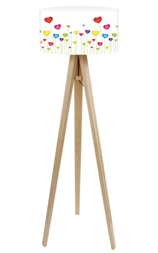 Macodesign, lampa podłogowa, łąka serc, podstawa biała lub naturalna