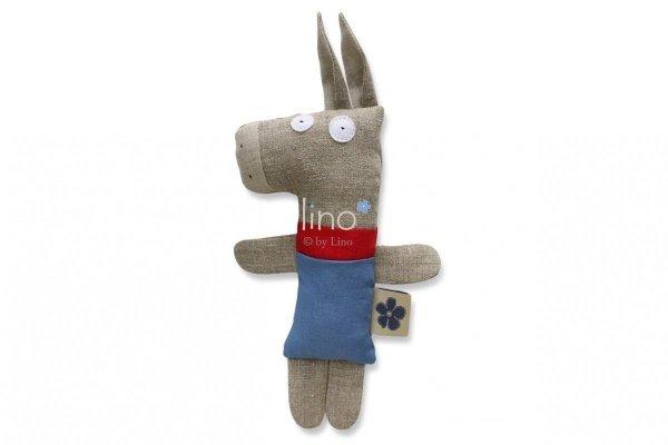 Lino, lniana, ręcznie szyta przytulanka, Osiołek