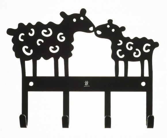Klippan, wieszak metalowy, owce, czarny