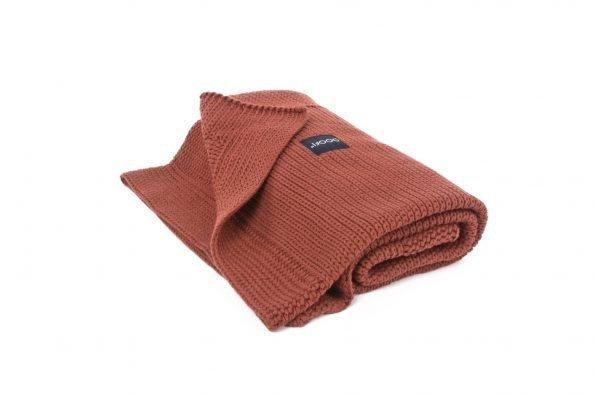 poofi, kocyk sweterkowy, z bawełny organicznej, cegła
