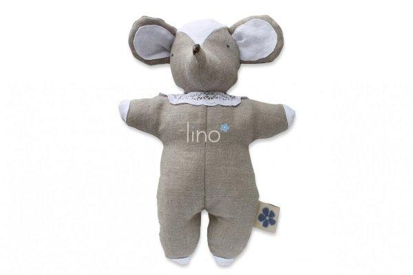 Lino, lniana, ręcznie szyta przytulanka, Szara Myszka