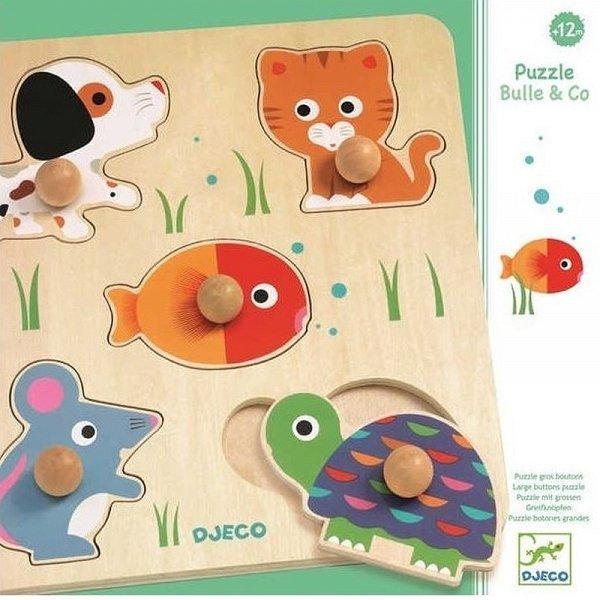 Djeco, puzzle drewniane, z uchwytami, zwierzątka