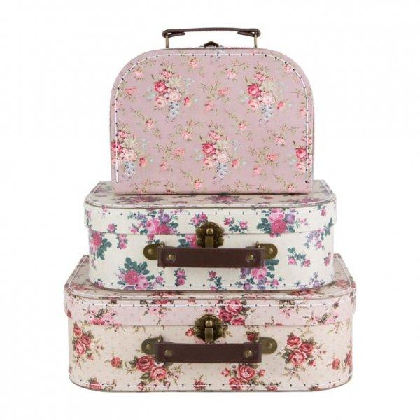 Sassandbell, zestaw 3 walizeczek, vintage roses