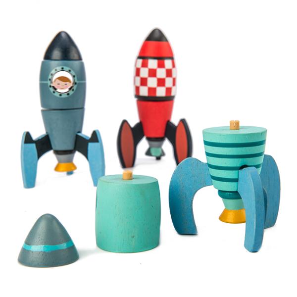 drewniane klocki konstrukcyjne, rakiety