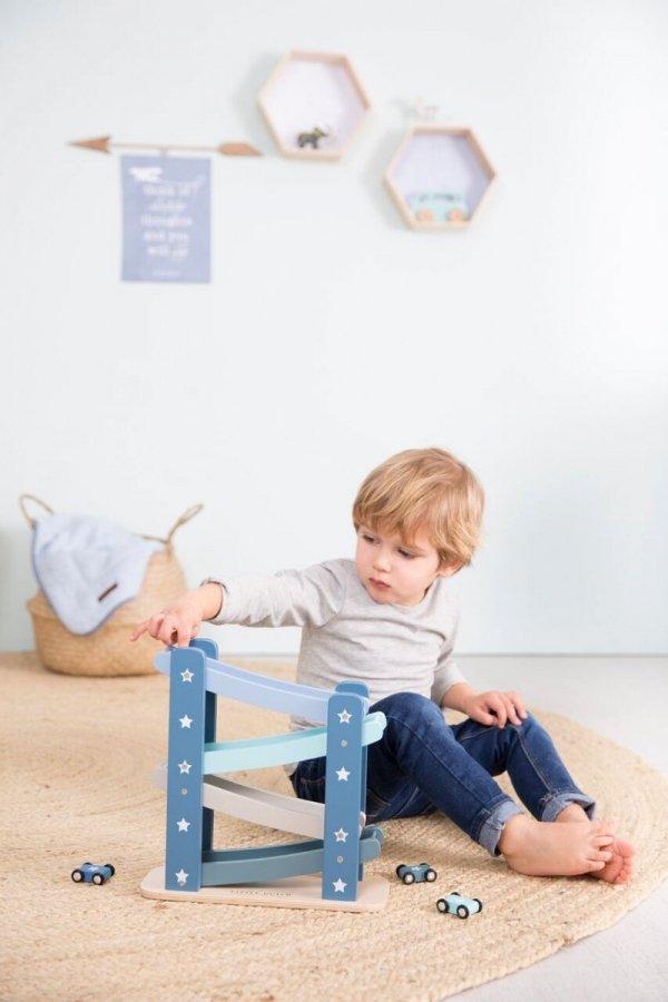 Little Dutch, drewniana zjeżdżalnia z autkami, błękitna