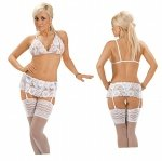 Roxana Open bra, suspenderbelt and string XL/White