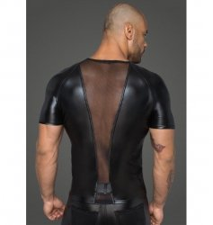 H056 Men's T-shirt made of powerwetlook with 3D net inserts M