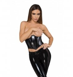 F211 Lacquered eco leather corset wit fishbones S
