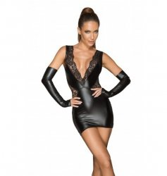 F212 Powerwetlook and lace minidress with a deep neckline XL