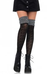 Lurex top over the knee socks