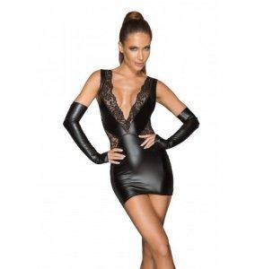 Noir handmade F212 Koronkowa mini sukienka z głębokim dekoltem XL (czarny)