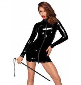 Noir handmade F187 Mini sukienka z PVC z czarnym dwukierunkowym zamkiem z przodu M (czarny)