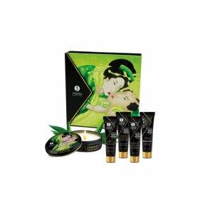Shunga Organica Exotic Green Tea - zestaw preparatów naturalnych dla par z aromatem zielonej herbaty (jadalny krem do masażu + rozgrzewający olejek do masażu + świeczka Zenitude + Toko Organica + krem Lotus Noir)