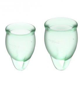 Satisfyer Feel Confident Menstrual Cup Set Light Green - zestaw kubeczków menstruacyjnych 2 szt. (jasnozielony)