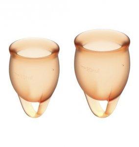 Satisfyer Feel Confident Menstrual Cup Set Orange - zestaw kubeczków menstruacyjnych 2 szt. (pomarańczowy)