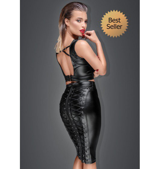 F152 Powerwetlook pencil skirt with long zipper L