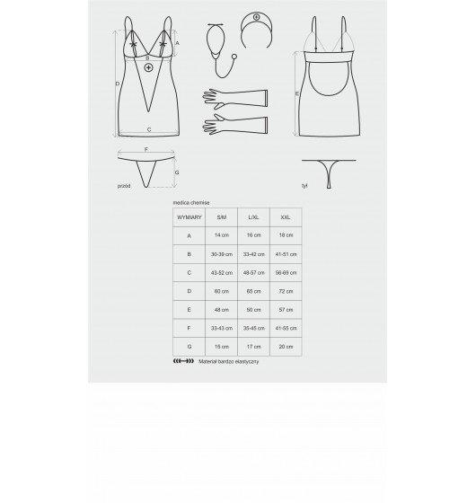 Obsessive Medica sukienka kostium 5-częściowy + stetoskop L/XL