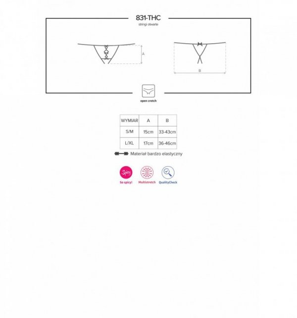 831-THC-1 stringi otwarte czarne L/XL