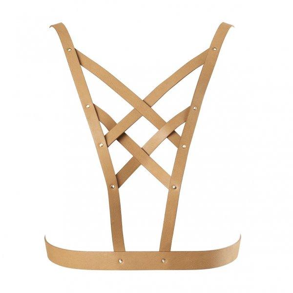 Bijoux Indiscrets MAZE Net Cleavage harness - skóropodobna uprząż BDSM na klatkę piersiową (brązowy)