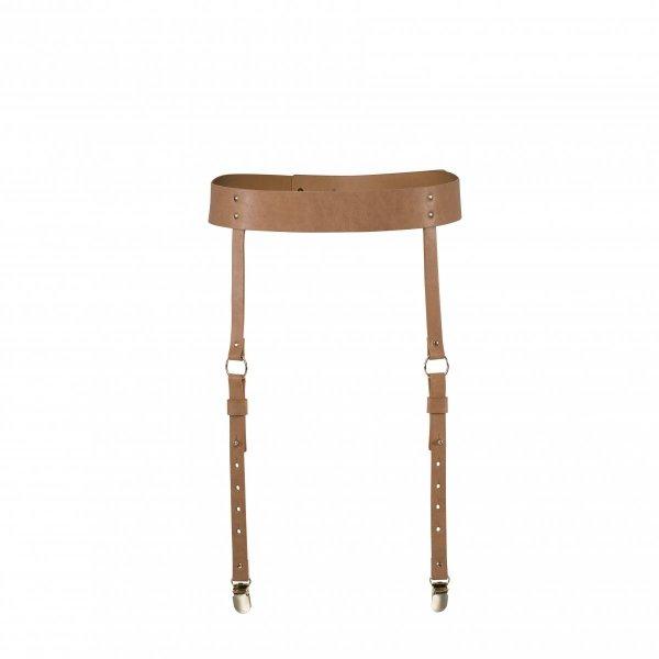 Bijoux Indiscrets MAZE Suspender Belt - skórpodobny pas do pończoch (brązowy)
