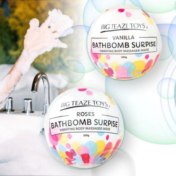 Big Teaze Toys Bath Bomb Surprise With Vibrating Body Massager Vanilla - waniliowa kula do kąpieli z masażerem ciała
