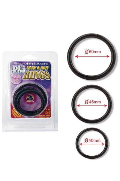 Cock and Ball Rings 40,45,50mm Black