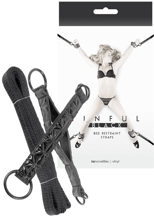 Sinful Black Bed Restraint Straps