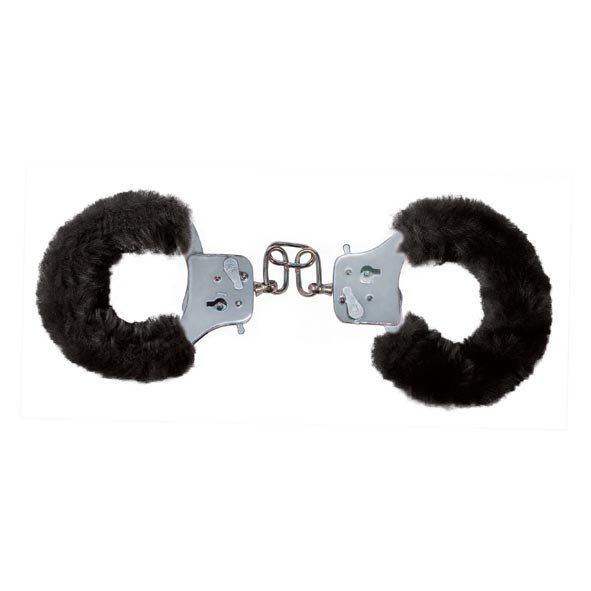 Furry Fun Cuffs Black Plush