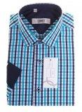Koszula z długim rękawem Slim Fit/Slim Line - w turkusowo-granatowo-białą kratkę