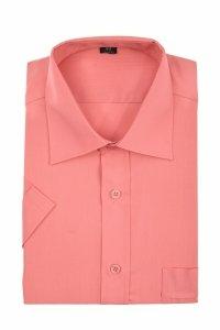 Koszula krótki rękaw Slim Line - ciemno różowa gładka